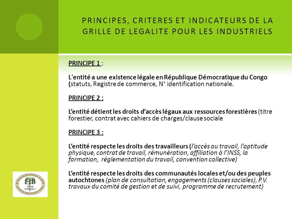 PRINCIPES, CRITERES ET INDICATEURS DE LA GRILLE DE LEGALITE POUR LES INDUSTRIELS