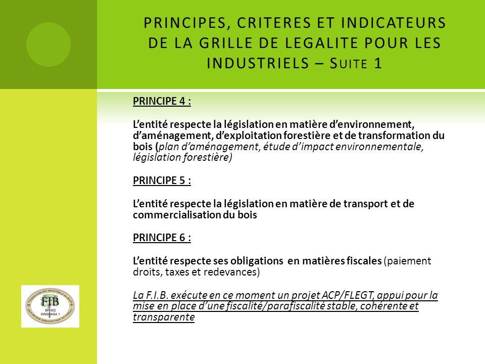 PRINCIPES, CRITERES ET INDICATEURS DE LA GRILLE DE LEGALITE POUR LES INDUSTRIELS – Suite 1