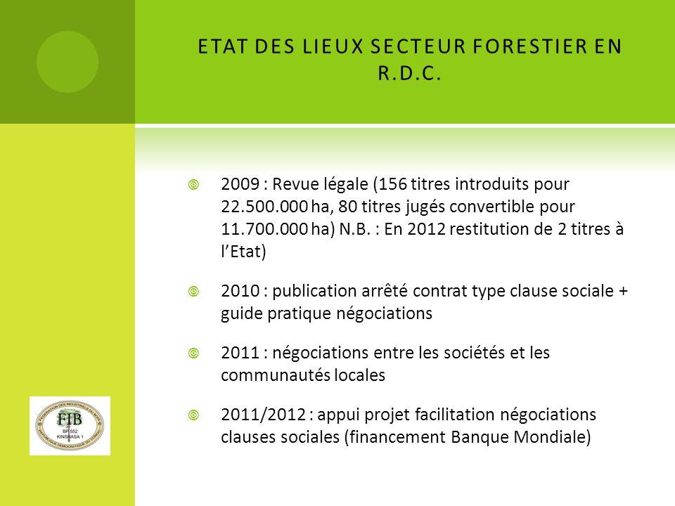 ETAT DES LIEUX SECTEUR FORESTIER EN R.D.C.
