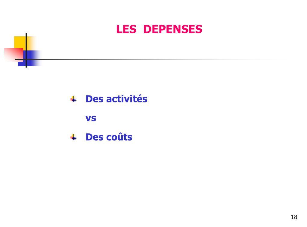 LES DEPENSES Des activités vs Des coûts