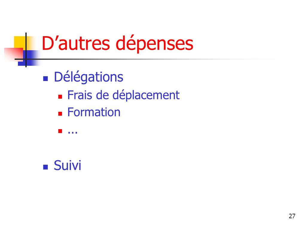 D'autres dépenses Délégations Frais de déplacement Formation ... Suivi