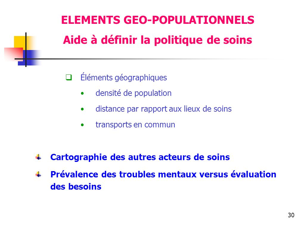 ELEMENTS GEO-POPULATIONNELS Aide à définir la politique de soins