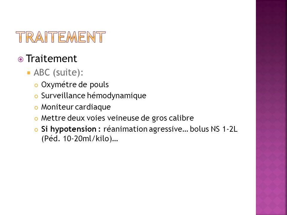 Traitement Traitement ABC (suite): Oxymétre de pouls