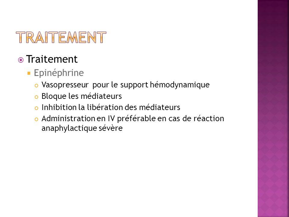 Traitement Traitement Epinéphrine