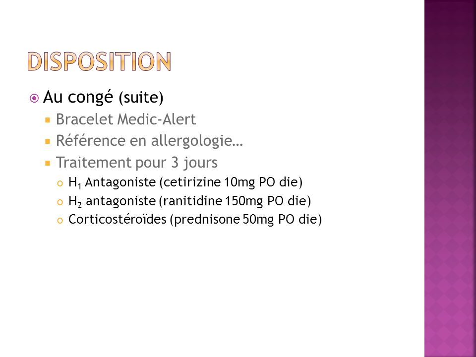 Disposition Au congé (suite) Bracelet Medic-Alert