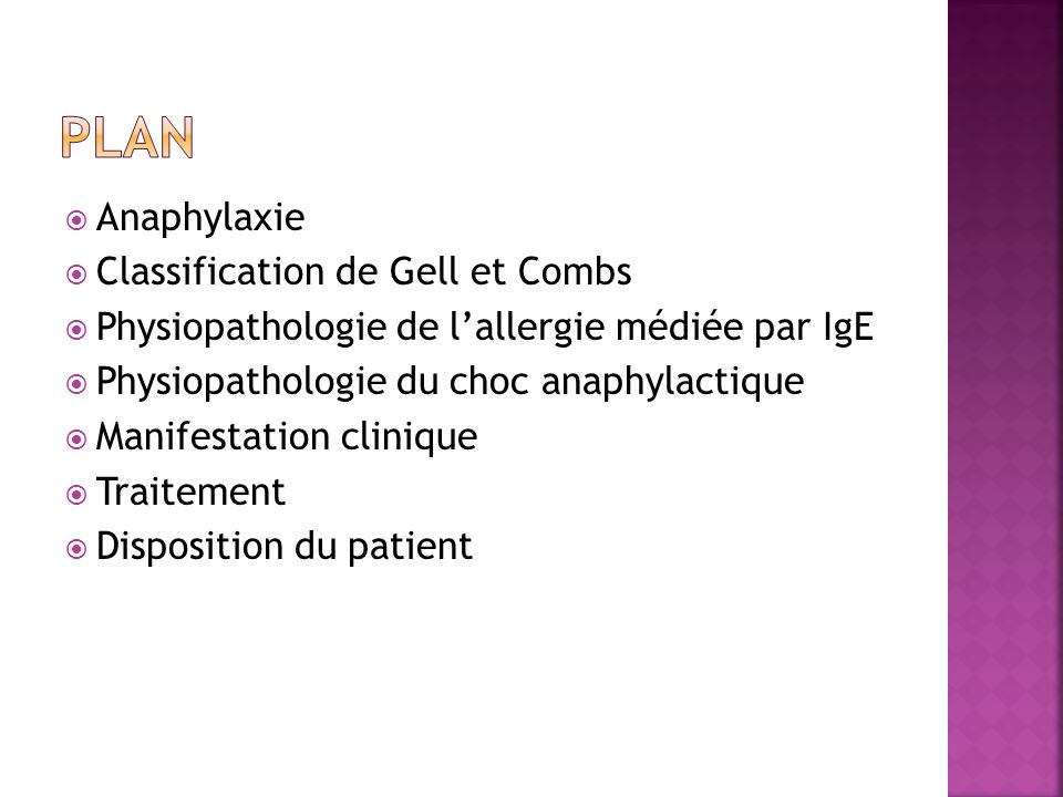 Plan Anaphylaxie Classification de Gell et Combs