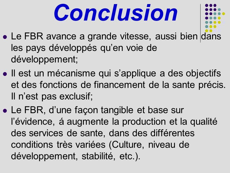 Conclusion Le FBR avance a grande vitesse, aussi bien dans les pays développés qu'en voie de développement;
