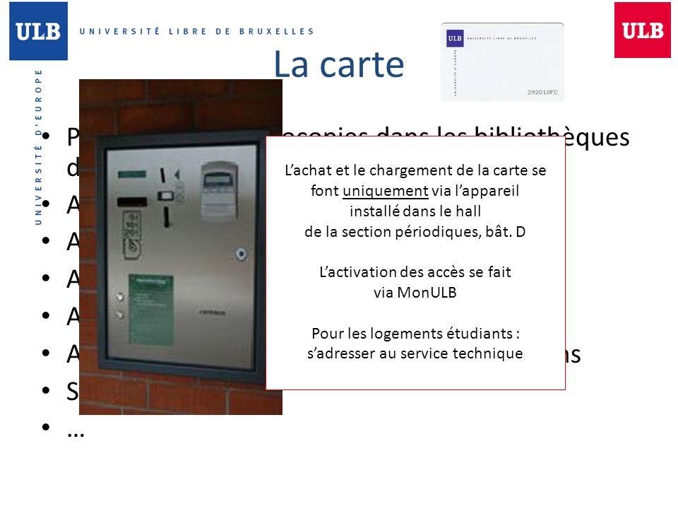 La carte Paiement des photocopies dans les bibliothèques de l'ULB
