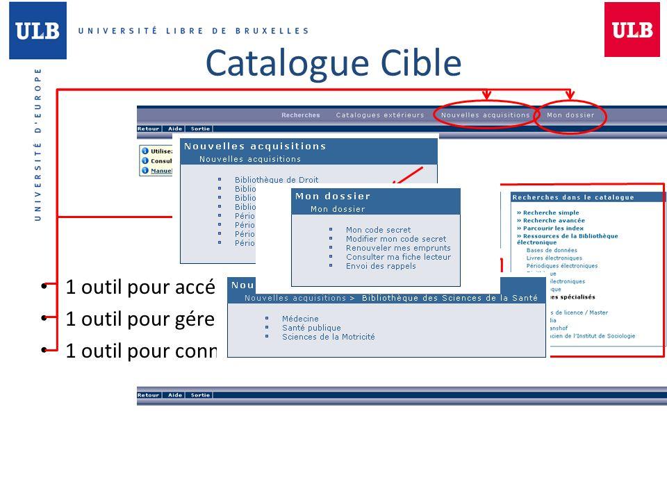 Catalogue Cible 1 outil pour accéder aux ressources de la BSS