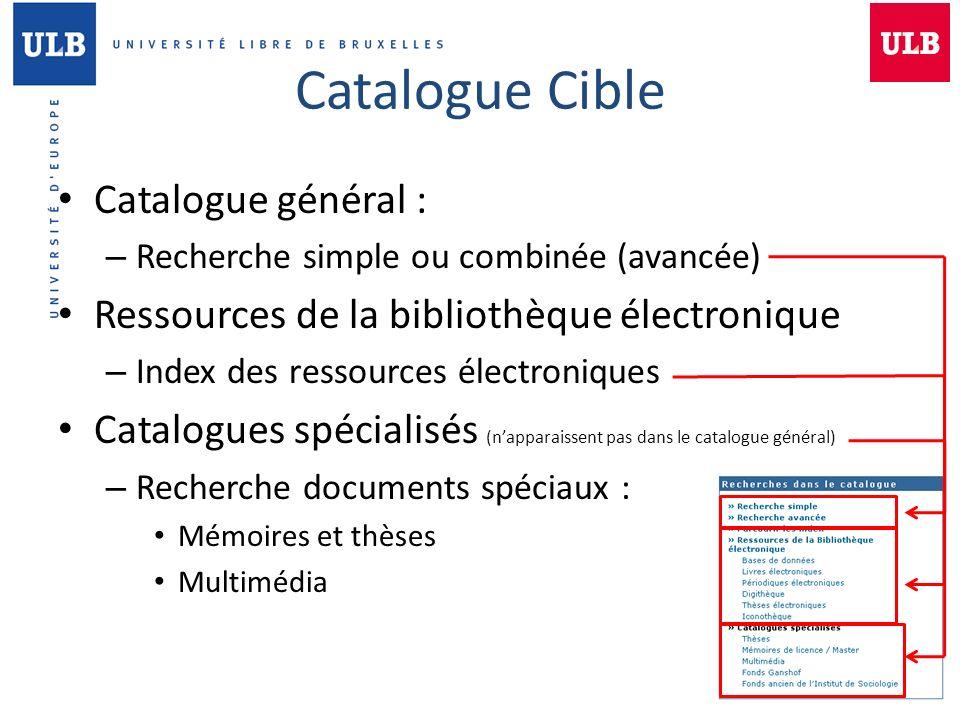 Catalogue Cible Catalogue général :