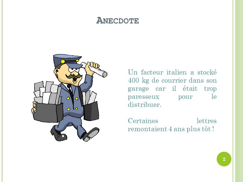 Anecdote Un facteur italien a stocké 400 kg de courrier dans son garage car il était trop paresseux pour le distribuer.
