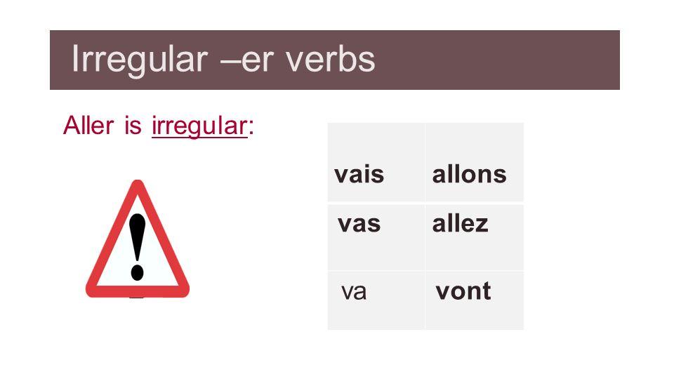 Irregular –er verbs Aller is irregular: vais allons allez va vas vont