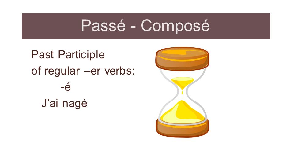 Passé - Composé Past Participle of regular –er verbs: -é J'ai nagé
