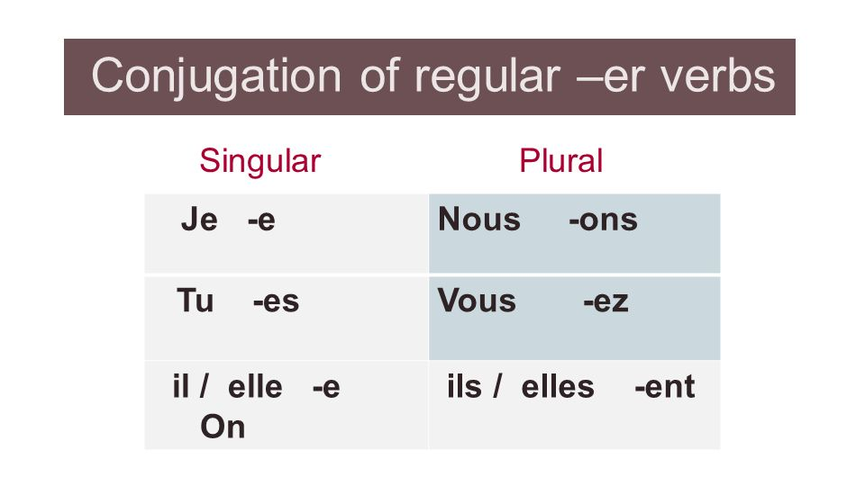 Conjugation of regular –er verbs