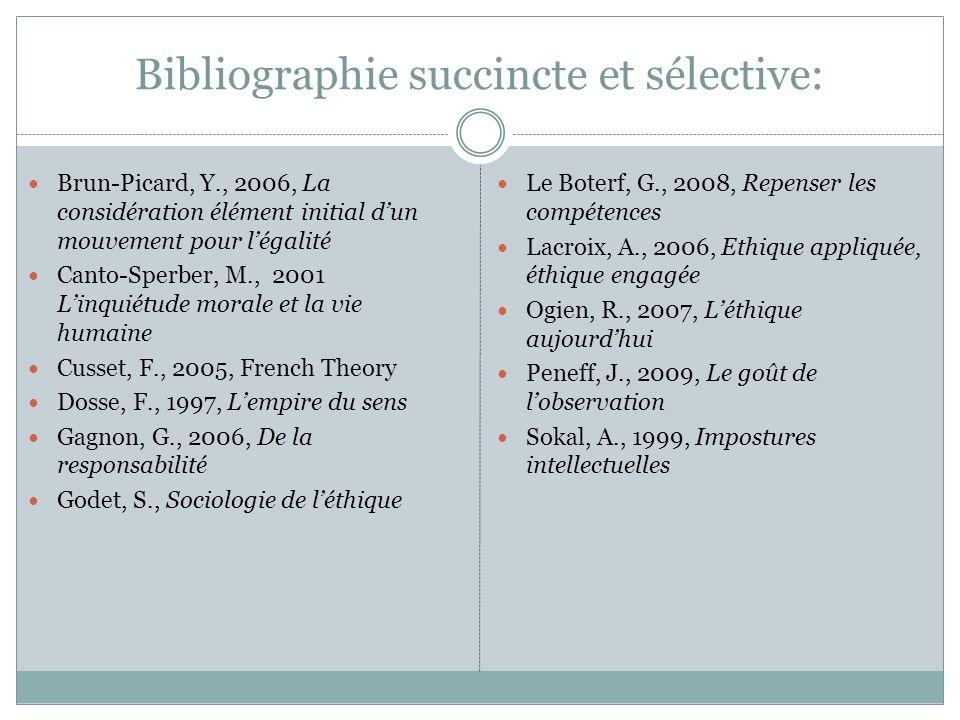 Bibliographie succincte et sélective: