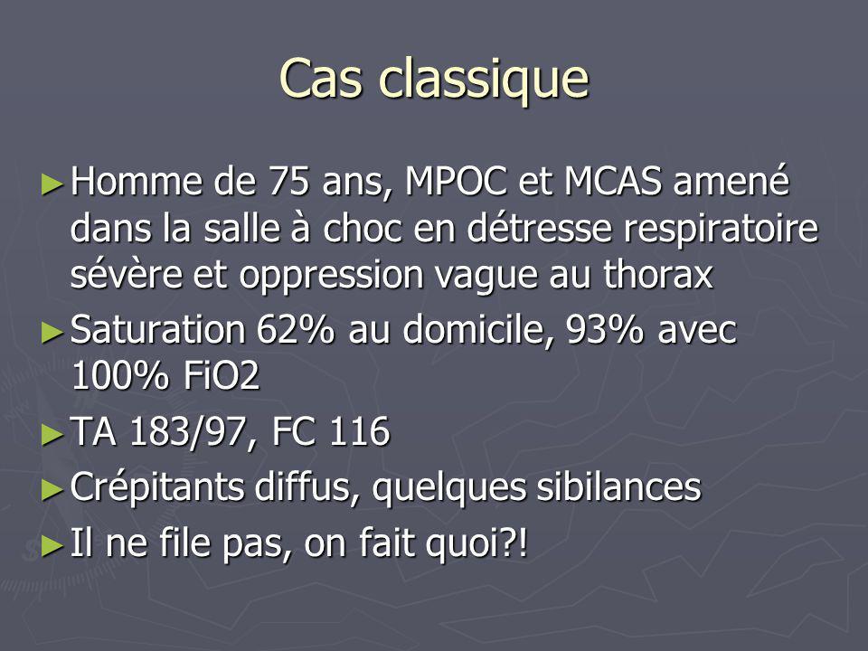 Cas classique Homme de 75 ans, MPOC et MCAS amené dans la salle à choc en détresse respiratoire sévère et oppression vague au thorax.