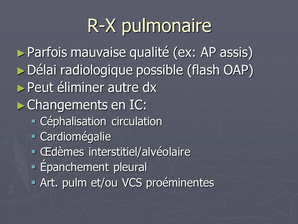 R-X pulmonaire Parfois mauvaise qualité (ex: AP assis)