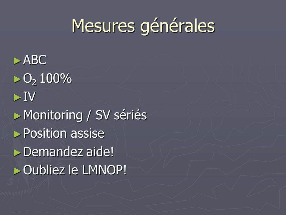 Mesures générales ABC O2 100% IV Monitoring / SV sériés