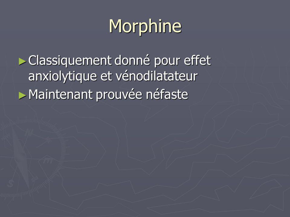 Morphine Classiquement donné pour effet anxiolytique et vénodilatateur