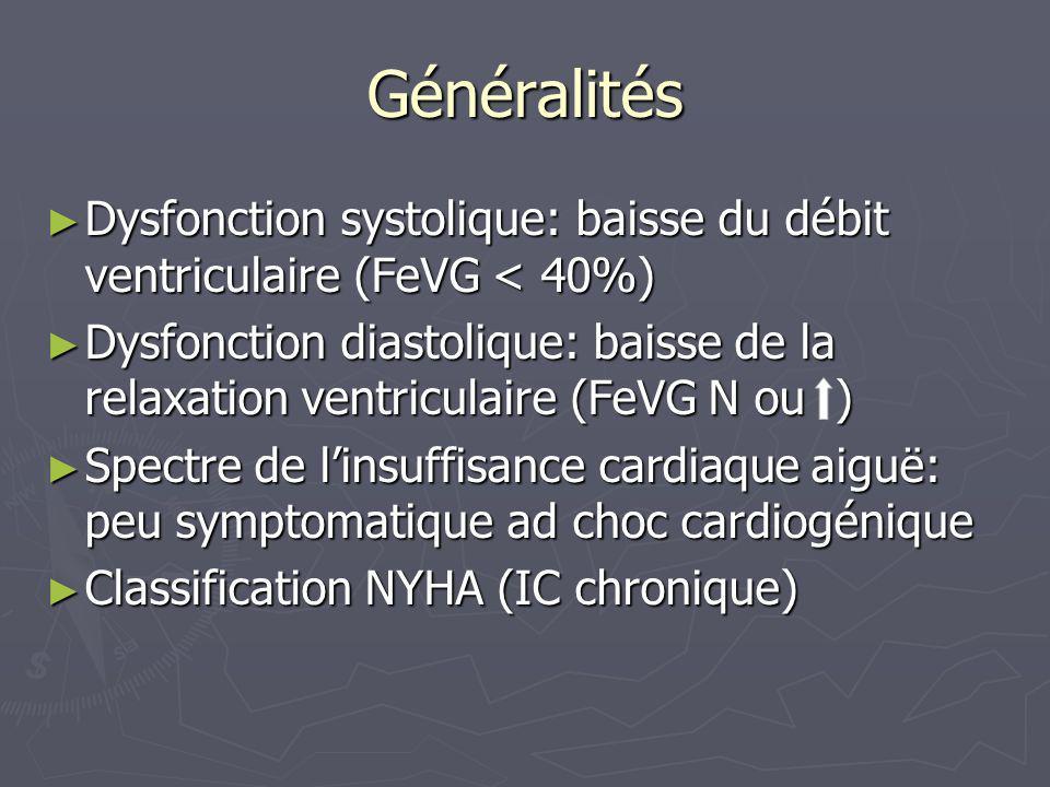 Généralités Dysfonction systolique: baisse du débit ventriculaire (FeVG < 40%)