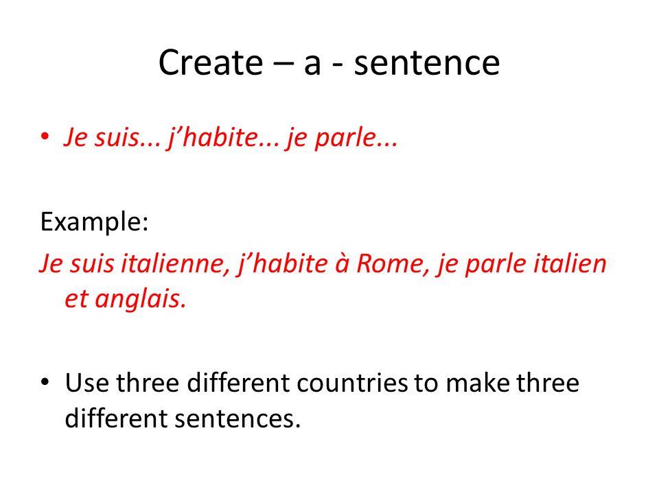 Create – a - sentence Je suis... j'habite... je parle... Example: