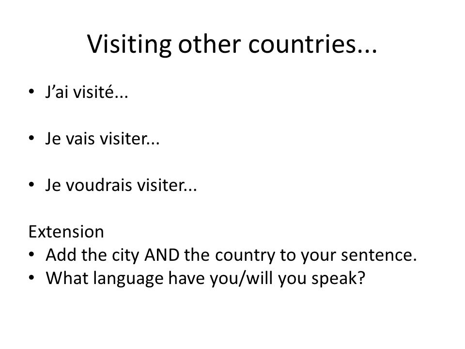 Visiting other countries...