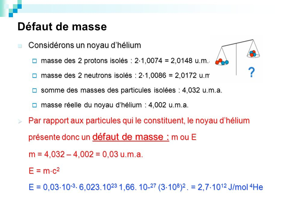 Défaut de masse Considérons un noyau d'hélium