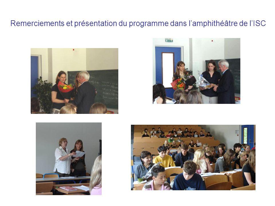 Remerciements et présentation du programme dans l'amphithéâtre de l'ISC