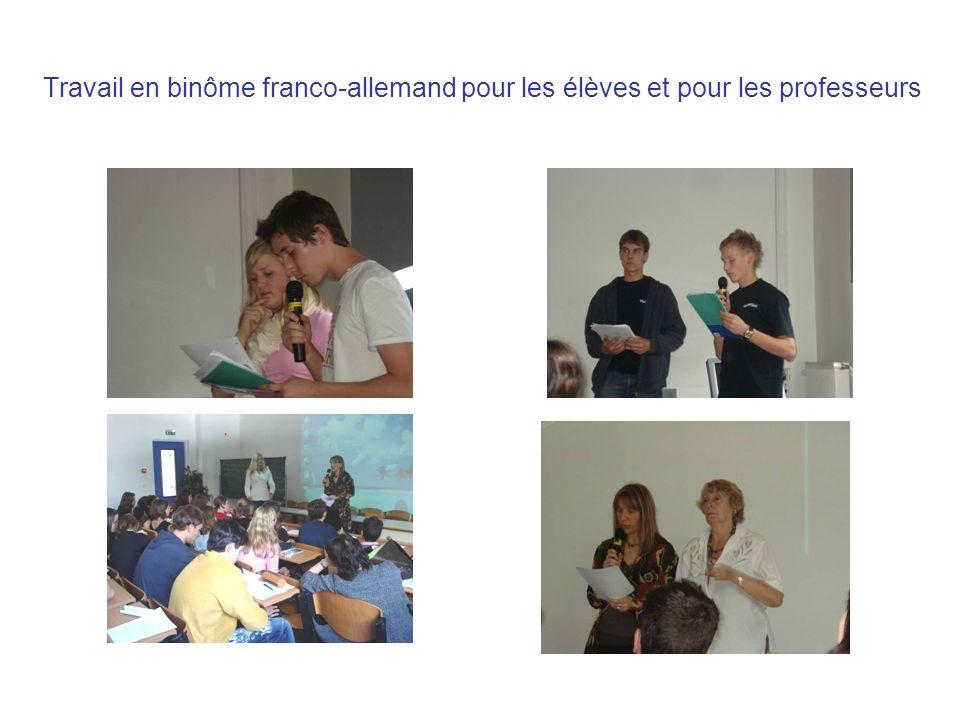 Travail en binôme franco-allemand pour les élèves et pour les professeurs