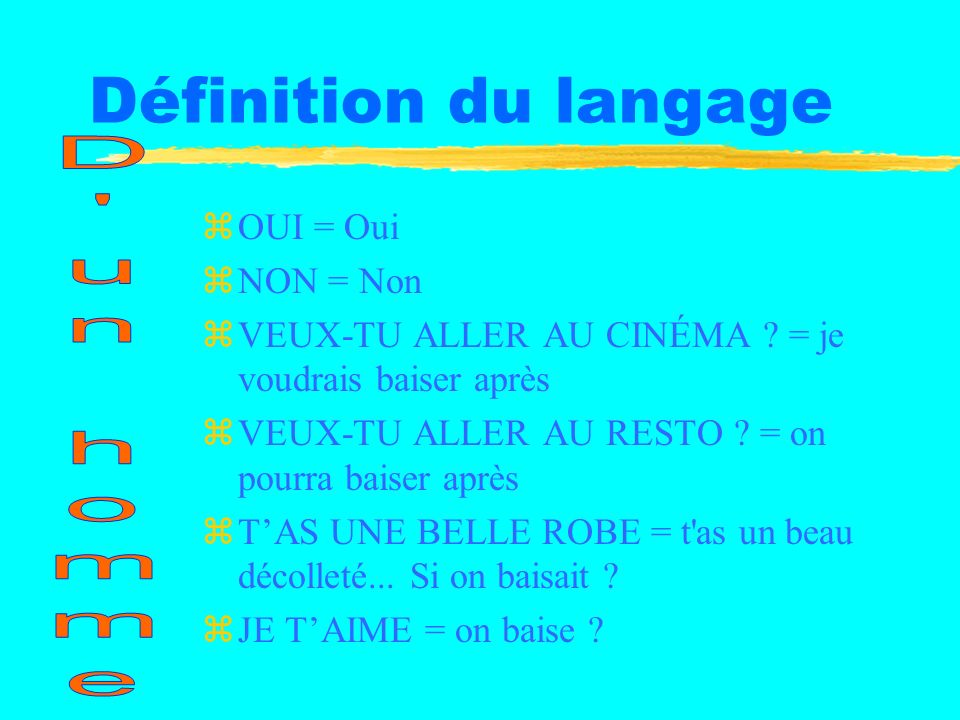 Définition du langage D un homme OUI = Oui NON = Non