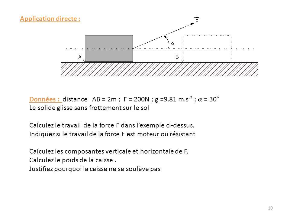 Application directe : Données : distance AB = 2m ; F = 200N ; g =9.81 m.s-2 ; a = 30° Le solide glisse sans frottement sur le sol.