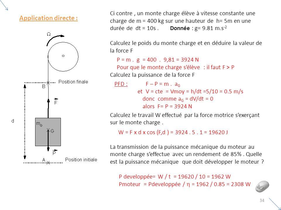 Ci contre , un monte charge élève à vitesse constante une charge de m = 400 kg sur une hauteur de h= 5m en une durée de dt = 10s . Donnée : g= 9.81 m.s-2