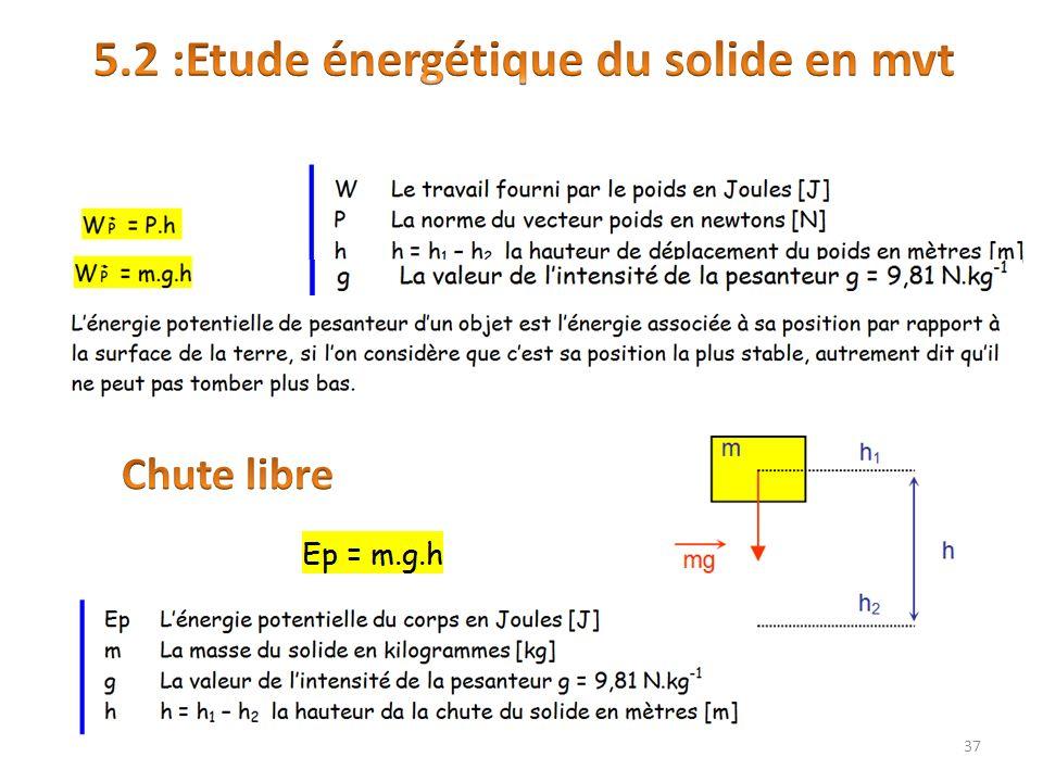 5.2 :Etude énergétique du solide en mvt