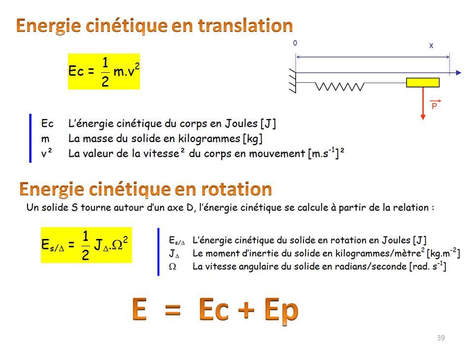 Energie cinétique en translation Energie cinétique en rotation