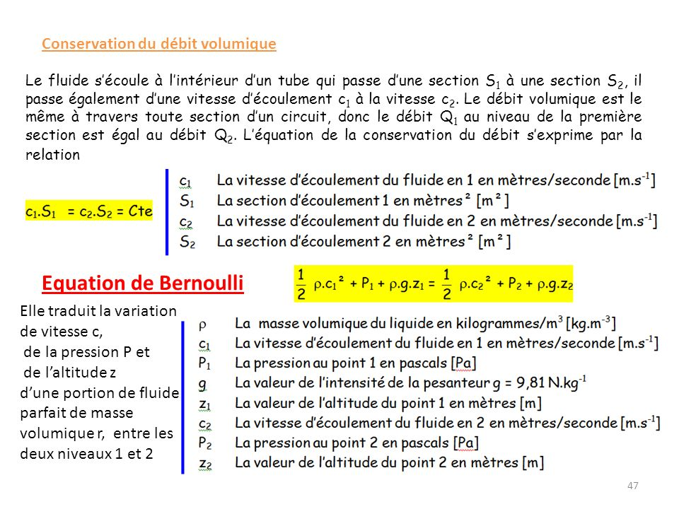 Equation de Bernoulli Conservation du débit volumique