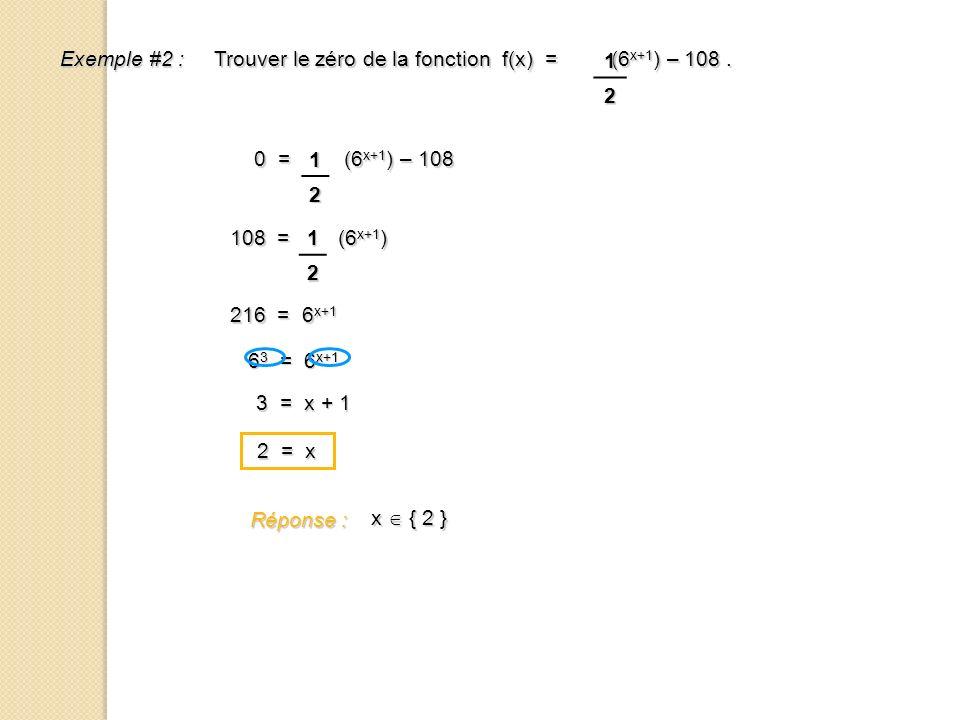 1 2. Exemple #2 : Trouver le zéro de la fonction f(x) = (6x+1) – 108 . 1. 2. 0 = (6x+1) – 108.
