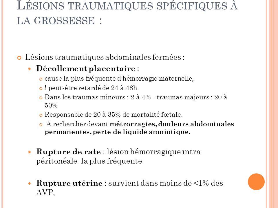 Lésions traumatiques spécifiques à la grossesse :