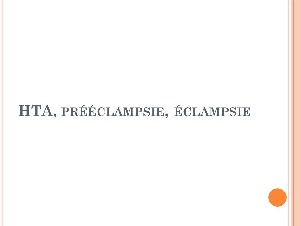 HTA, prééclampsie, éclampsie