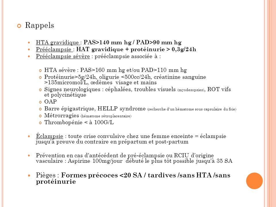 Rappels HTA gravidique : PAS>140 mm hg / PAD>90 mm hg. Prééclampsie : HAT gravidique + protéinurie > 0,3g/24h.
