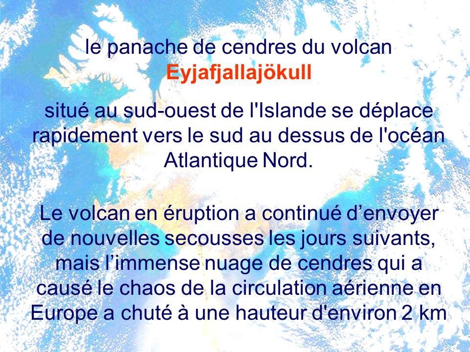 le panache de cendres du volcan Eyjafjallajökull