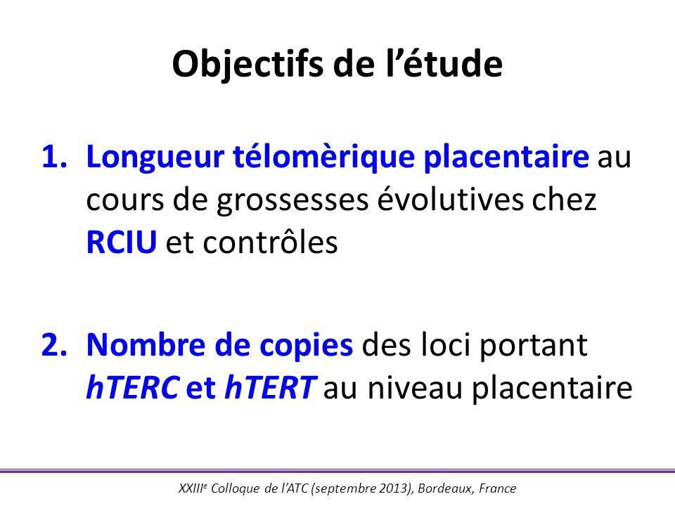 Objectifs de l'étude Longueur télomèrique placentaire au cours de grossesses évolutives chez RCIU et contrôles.