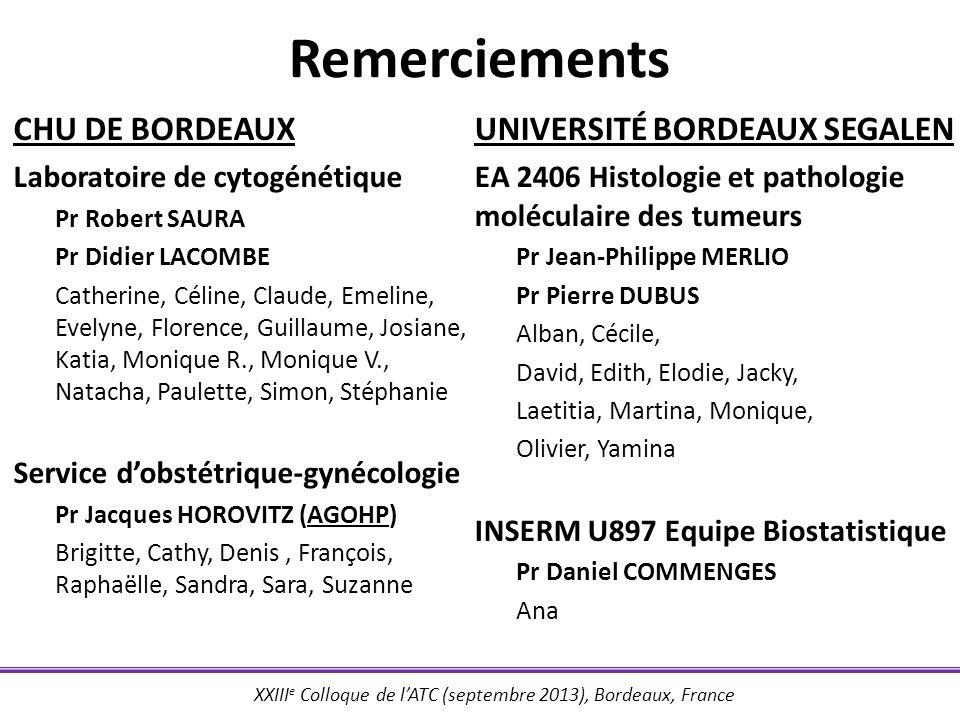 Remerciements CHU DE BORDEAUX Université bordeaux segalen
