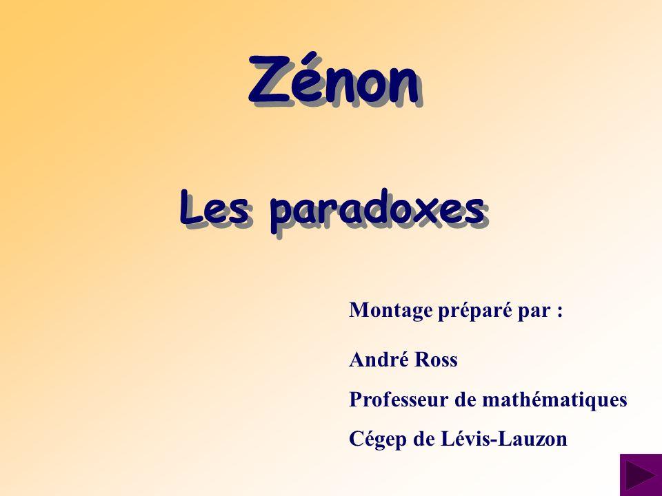 Zénon Les paradoxes Montage préparé par : André Ross