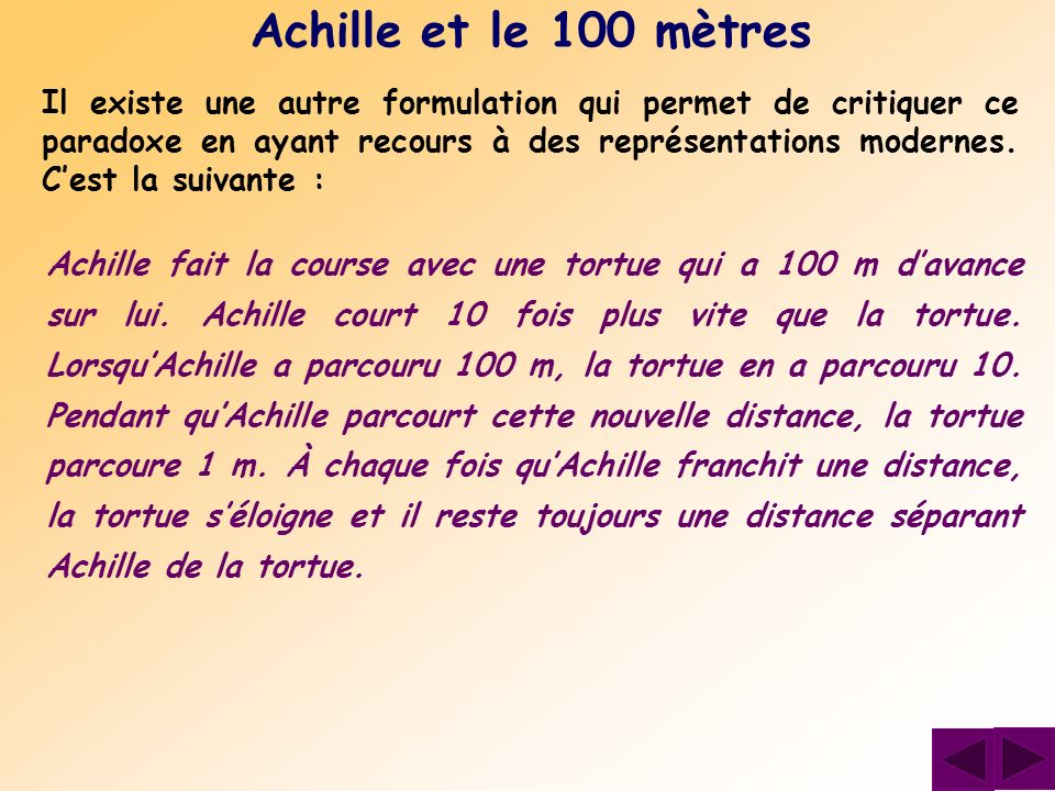 Achille et le 100 mètres
