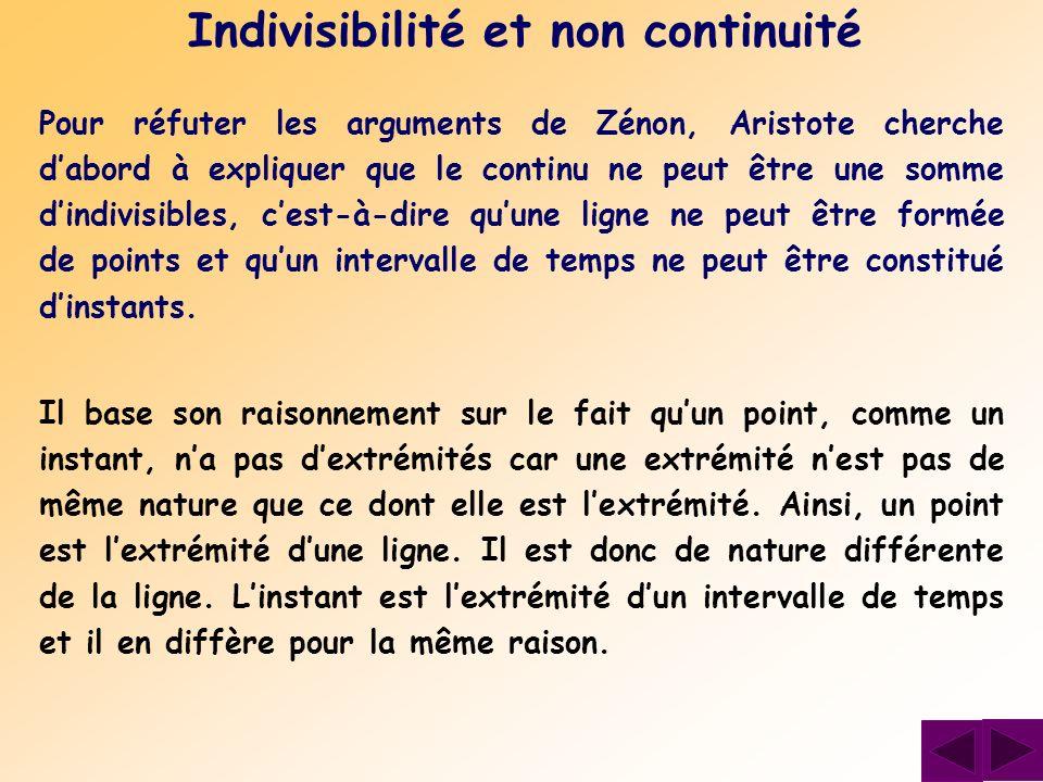 Indivisibilité et non continuité