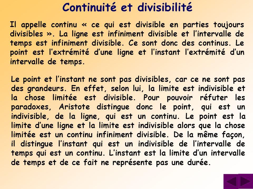 Continuité et divisibilité