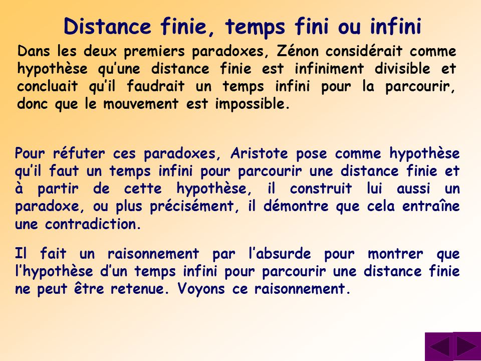 Distance finie, temps fini ou infini