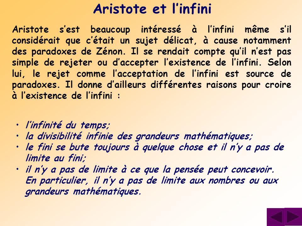 Aristote et l'infini