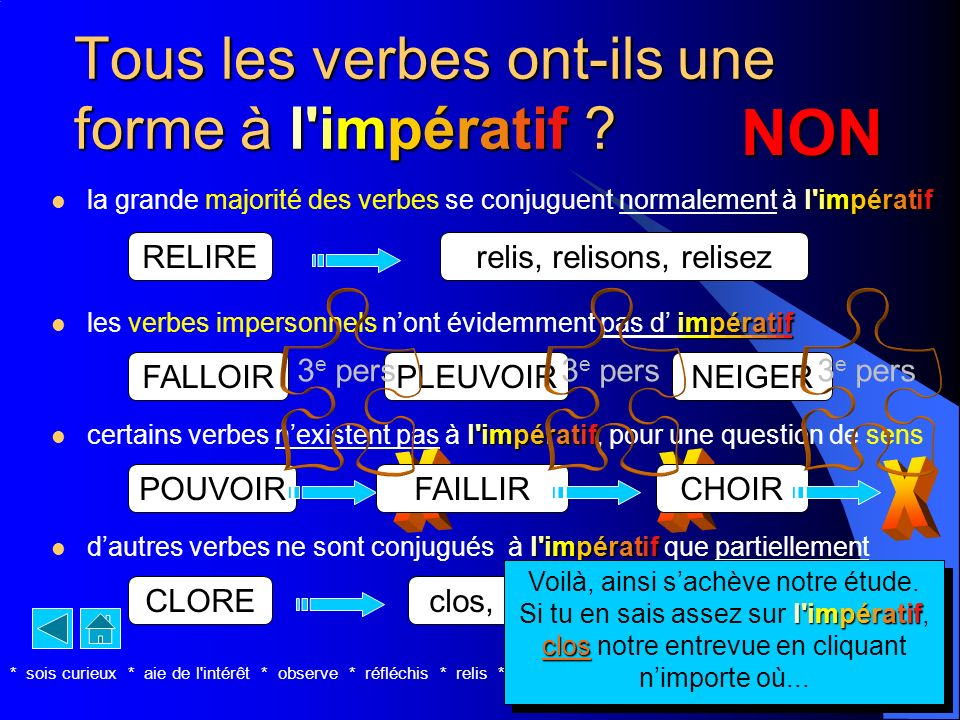 Tous les verbes ont-ils une forme à l impératif