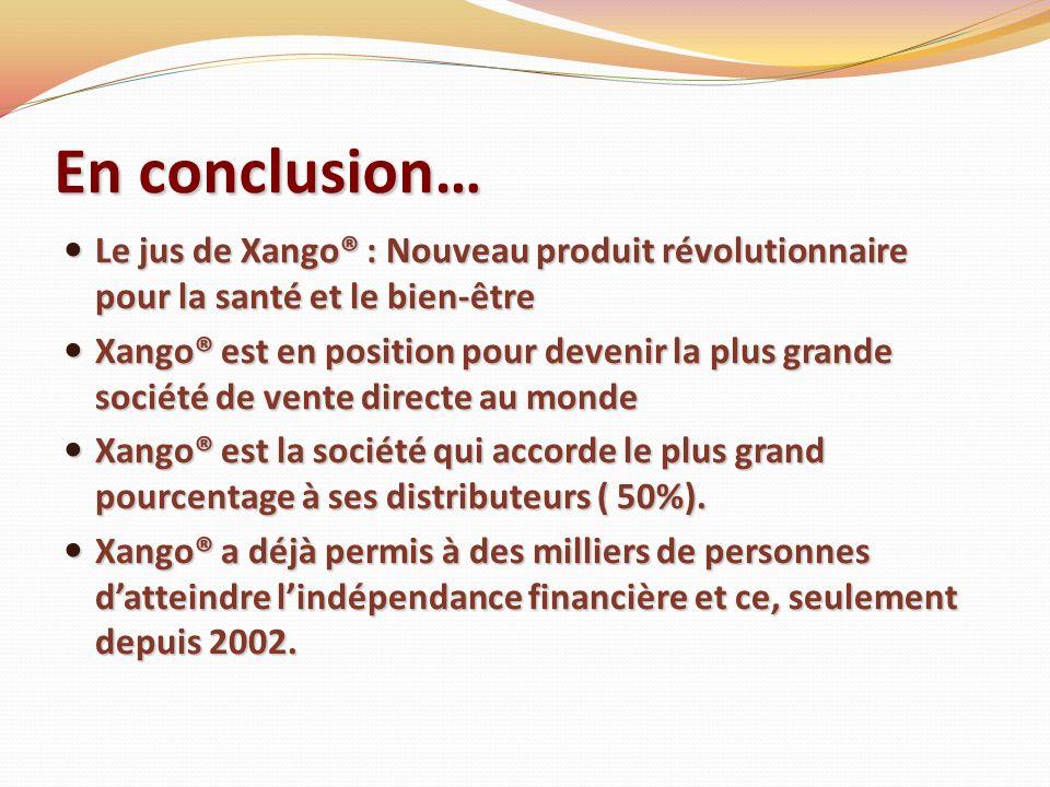En conclusion…Le jus de Xango® : Nouveau produit révolutionnaire pour la santé et le bien-être.